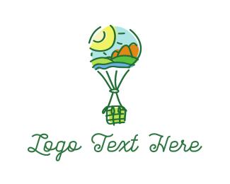 Hot Air Balloon - Landscape Balloon logo design