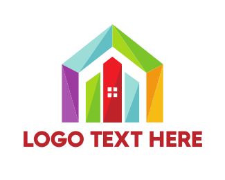 Multicolor - Colorful Geometric House logo design