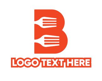 Kitchenware - Orange B Fork logo design