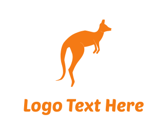 Jump - Orange Kangaroo logo design