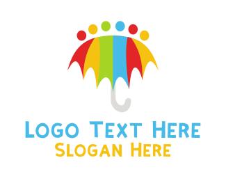 Storm - Rainbow Umbrella logo design