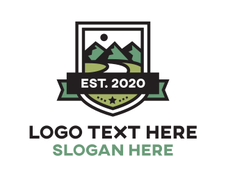 Hiking - Mountain Shield logo design