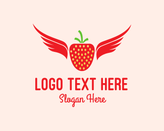 Berry - Flying Strawberry logo design