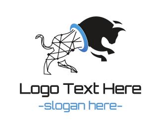 Finance - Bull Wireframe logo design