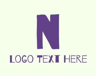 School - Handwritten Purple Letter N logo design