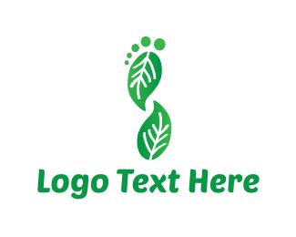 Footprint - Leaf Foot logo design