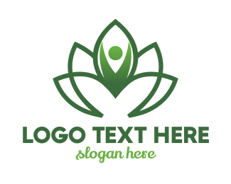 Relaxation - Green Flower Person logo design