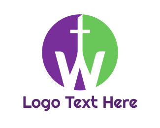Pendant - Purple Green Cross W logo design