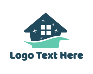Blue Shiny House Logo Maker