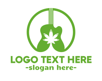 Guitarist - Weed & Music logo design