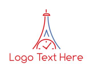 French - Clock Tower Outline logo design