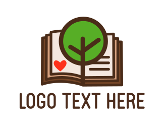 Novel - Tree & Book logo design