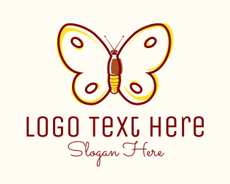Insect - Yellow Butterfly logo design