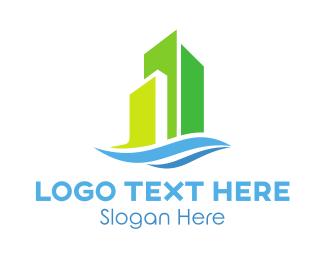 Establishment - Green Modern Buildings  logo design