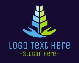 Serve - Hand Tree logo design
