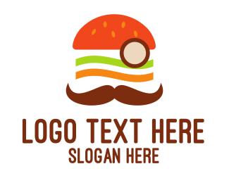 Monocle - Moustache Burger logo design