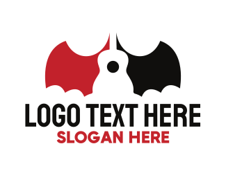 Guitar - Bat Guitar logo design