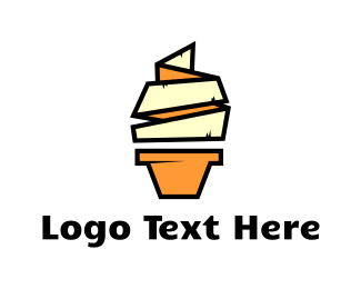 Ice Cream - Origami Vanilla Ice Cream logo design