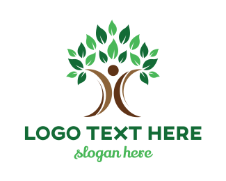 Environmentalist - Abstract Tree Person logo design