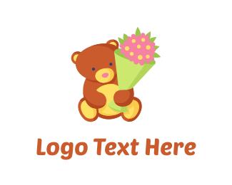 Bear - Teddy Bear Flowers logo design