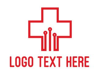 Clinic - Circuit Cross logo design