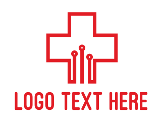 Hospital - Circuit Cross logo design