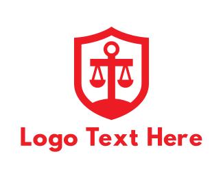 Court - Red Legal Shield logo design