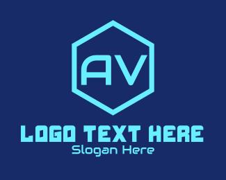Visual - Audio Visual Font logo design