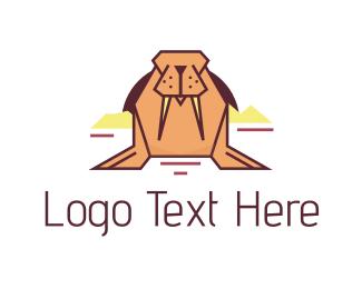Tusk - Pink Walrus logo design