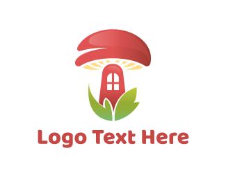 Fungus - Red Mushroom House logo design