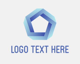 Shape - Blue 3D Pentagon logo design