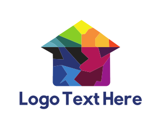 Paint - House Puzzle logo design
