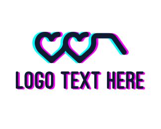 Ophthalmologist - Anaglyph Heart Glasses logo design