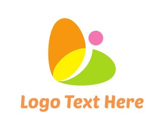 Oval - Colorful Butterfly logo design