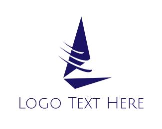 Port - Fast Blue Sailboat  logo design