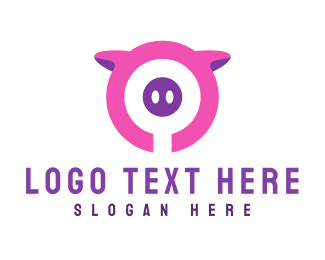 Farm Animal - Pig Circle logo design