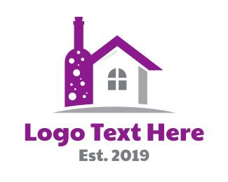 Champagne - Violet Wine Bottle House logo design