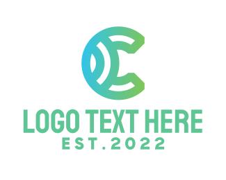 Wireless - Gradient C Shell logo design