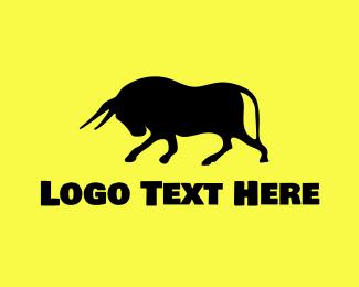 Farm - Bull Silhouette logo design