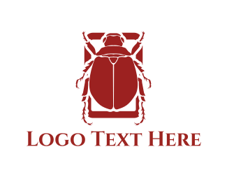 Egyptian - Red Beetle logo design