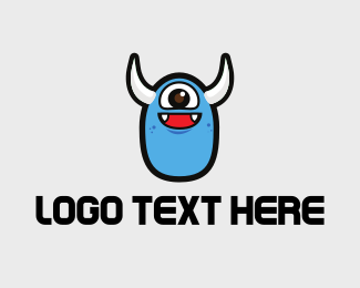 Happy - Cute Blue Monster logo design