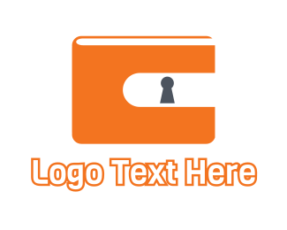Identification - Orange Wallet Lock  logo design