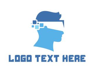 Pixelated - Pixel Head VR  logo design
