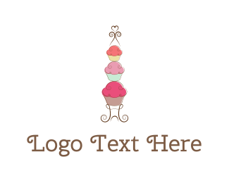 Bake - Cupcake Tower logo design