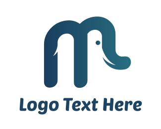 Mammoth - Elephant M logo design