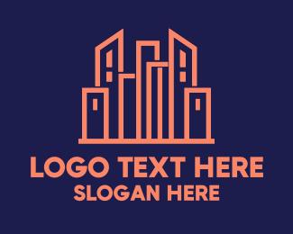 Infrastructure - Pink Skyline logo design