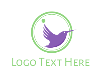 Freedom - Purple Hummingbird logo design