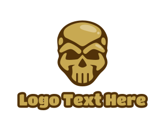 Crypt - Gold Cyborg Skull logo design