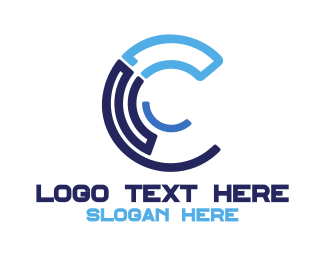 Cyber - Blue Tech C logo design