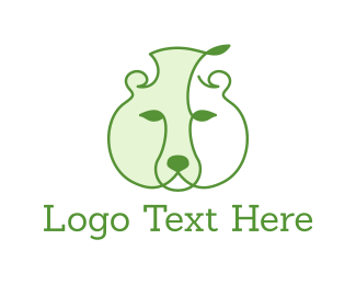 Vine - Green Leaf Bear logo design